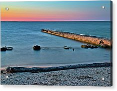 Acrylic Print featuring the photograph Sunset Beach On Lake Erie by Frozen in Time Fine Art Photography