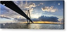 Sunset Behind Arthur Ravenel Jr Bridge Charleston South Carolina Acrylic Print by Dustin K Ryan