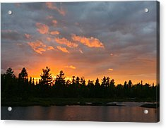 Sunset Behind Silhouetted Forest, Lake Acrylic Print by Panoramic Images