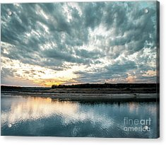 Sunset Behind Small Hill With Storm Clouds In The Sky Acrylic Print