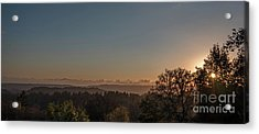 Sunset Behind Tree With Forest And Mountains In The Background Acrylic Print