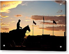 Sunset Behind Will Rogers And Soapsuds Statue At Texas Tech University In Lubbock Acrylic Print by Ilker Goksen