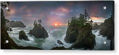 Acrylic Print featuring the photograph Sunset Between Sea Stacks With Trees Of Oregon Coast by William Lee