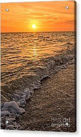 Sunset Bowman Beach Sanibel Island Florida  Acrylic Print by Edward Fielding
