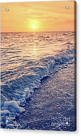 Acrylic Print featuring the photograph Sunset Bowman Beach Sanibel Island Florida Vintage by Edward Fielding