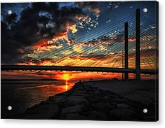 Sunset Bridge At Indian River Inlet Acrylic Print by Bill Swartwout