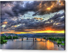 Sunset Bridges Of Chattanooga Walnut Street Market Street Acrylic Print