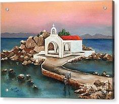 Sunrise By Saint Isidoros Church Acrylic Print