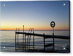 Sunset By The Old Bath Pier Acrylic Print