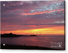 Acrylic Print featuring the photograph Sunset Clouds In Newquay Cornwall by Nicholas Burningham