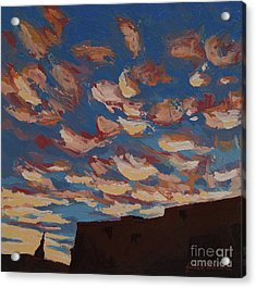 Acrylic Print featuring the painting Sunset Clouds Over Santa Fe by Erin Fickert-Rowland
