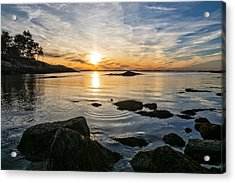 Sunset Cove Gloucester Acrylic Print by Michael Hubley