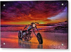 Acrylic Print featuring the photograph sunset Custom Chopper by Louis Ferreira