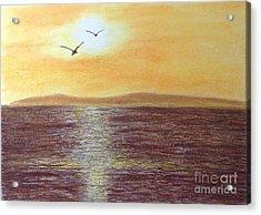 Sunset And Seagulls Acrylic Print