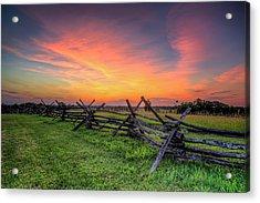Sunset Fence Acrylic Print by Ryan Wyckoff