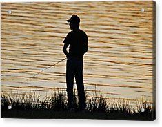 Acrylic Print featuring the photograph Sunset Fishing by Teresa Blanton