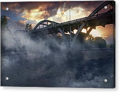 Sunset Fog At Caveman Bridge Acrylic Print