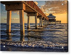 Sunset Fort Myers Beach Fishing Pier Acrylic Print