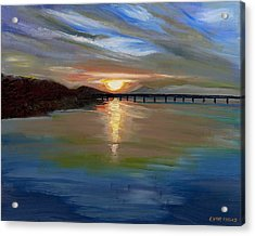 Sunset From The Big Dam Bridge Acrylic Print by Cathy France