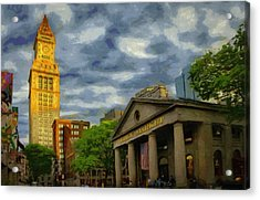 Sunset Gleam Of Custom House Tower Acrylic Print by Jeff Kolker