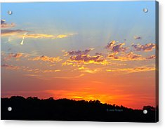 Acrylic Print featuring the digital art Sunset Glory Orange Blue by Jana Russon