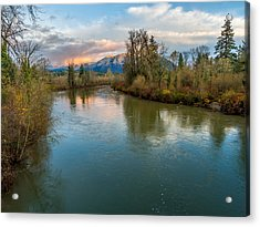 Sunset Glow Over The Snoqualmie River Acrylic Print