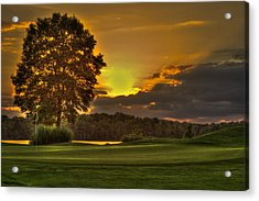 Sunset Hole In One The Landing Acrylic Print by Reid Callaway