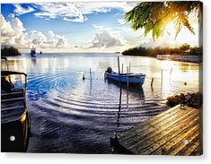Sunset In A Fishing Village Acrylic Print by George Oze