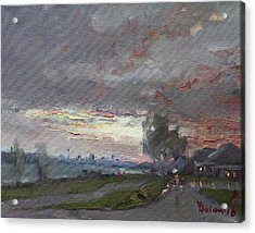 Sunset In A Rainy Day Acrylic Print by Ylli Haruni