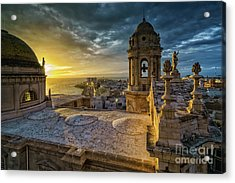 Acrylic Print featuring the photograph Sunset In Cadiz Cathedral View From Levante Tower Cadiz Spain by Pablo Avanzini