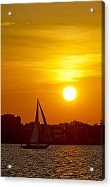 Sunset In Charleston South Carolina Sailboat Acrylic Print by Dustin K Ryan