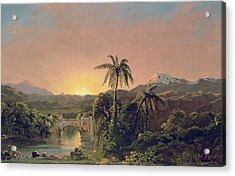 Sunset In Equador Acrylic Print by Frederic Edwin Church