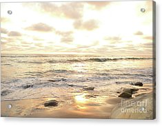 Sunset In Golden Tones Torrey Pines Natural Preserves #1 Acrylic Print