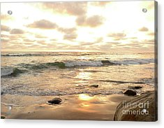 Sunset In Golden Tones Torrey Pines Natural Preserves #2 Acrylic Print