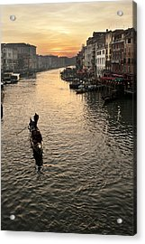 Sunset In Grand Canal Acrylic Print by Marco Missiaja