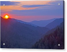 Sunset In Great Smoky Mountain National Park Tennessee Acrylic Print by Brendan Reals