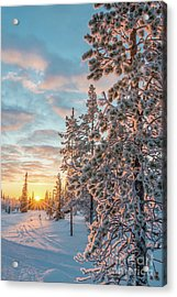 Sunset In Lapland Acrylic Print by Delphimages Photo Creations