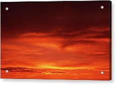 Acrylic Print featuring the photograph Sunset In Orange by Edward R Wisell