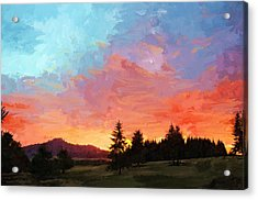 Sunset In Oregon Acrylic Print