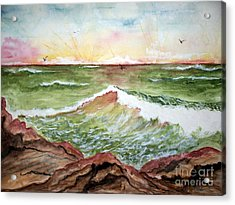 Acrylic Print featuring the painting Sunset In Pink by Carol Grimes