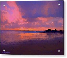 Sunset In Rotheneuf Acrylic Print