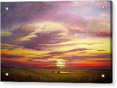 Sunset In The Flint Hills Acrylic Print