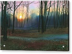 Acrylic Print featuring the painting Sunset In The Park by Sergey Zhiboedov