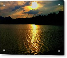 Acrylic Print featuring the digital art Sunset In The Smoky Mountains 1 by Chris Flees