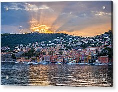 Sunset In Villefranche-sur-mer Acrylic Print by Elena Elisseeva