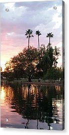 Sunset Island In Chaparral Lake Vertical Acrylic Print