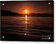 Sunset Lake 810pm Textured Acrylic Print