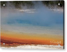 Sunset Lake In Black Sand Basin Yellowstone National Park Acrylic Print by Louise Heusinkveld