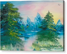 Acrylic Print featuring the painting Sunset Lake by Saundra Johnson