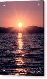 Sunset Lake Verticle Acrylic Print